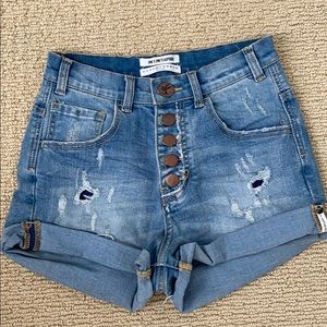 NWOT One teaspoon high waisted button shorts